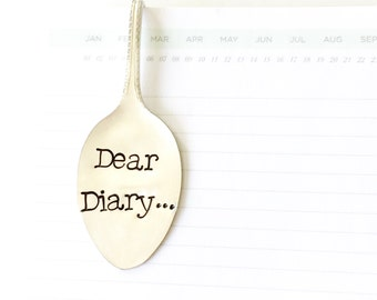 Silverware Bookmark. Dear Diary... Stamped Spoon Book Mark for Journal. Tween Gift Idea. Writer Gifts. 2016 Milk & Honey ® Design