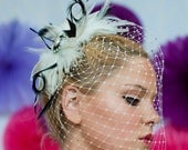 """Bridal Birdcage Veil ~ """"The Bethany"""" Handcrafted ivory & black feather bridal fascinator with detachable birdcage veil"""
