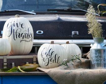 Custom Hand Lettering White Pumpkin, Autumn, HolidayDecor
