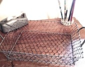 Vintage Wire Basket, Desk Office Storage, Chicken Wire, Charming Home Decor, Anthropologie