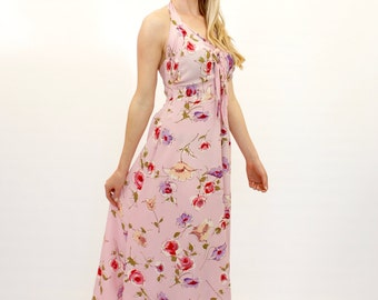 40's Retro Floral Halter Dress, Pink Midi Dress, Fit and Flare Dress, 1940's Style Dress