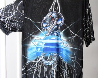 Semi-Sheer Lightning Cobra Car Print Silky Shiny Shirt