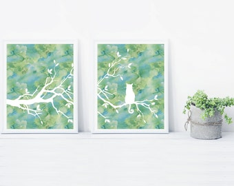 Cat Tree Wall Art Print Set of Two Prints - Watercolor Blue Green
