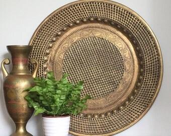 Large Vintage Brass Wall Hanging Wall Decor Round Tray Pierced Netlike Metallic Moroccan Cosmopolitan Boho Chic
