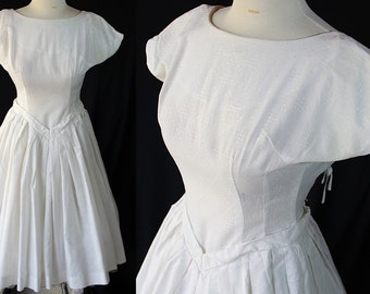 50s Dress / Vintage Wedding / White / Rockabilly / Circle Skirt