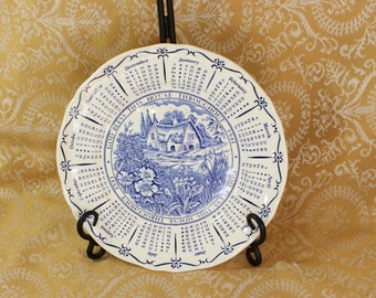 1981 Calendar Plate- God Bless This House- Blue & White Transferware- Thatched Cottage- Myott Made in England- Cottage Garden- Birthday