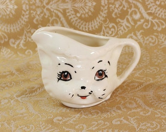 Handmade Kitty Creamer- Vintage/ Antique- Signed Gill- Small Pitcher- Jug- Pottery- Cat Lover Gift