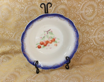 Antique Limoge China Bowl- Large Decorative Bowl- Cobalt Blue with red cherries- Gold embellishment- Shabby Chic- Vintage