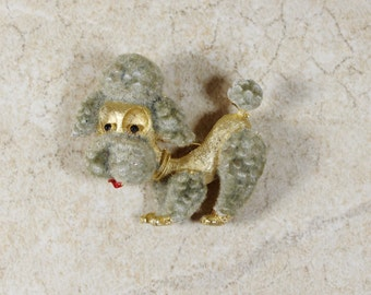 Signed JJ Vintage Poodle Brooch- Goldtone with Gray Fuzzy Fur- Antique Jonette Jones Jewelry Dog Pin