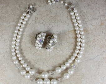 Pearl Necklace and Earring Set- Vintage White Pearls- Crystals- Clip-on Earrings- Double Strand- Bride Bridal Jewelry