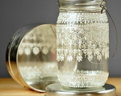 Hanging Snowflake Mason Jar Lantern, Lace  Design in White Pearl - on Crystal Clear Glass