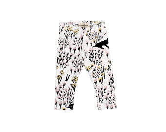 Cats in Grass Leggings in Pale Pink, Yellow Ochre and Black on White