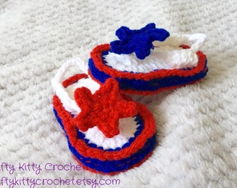 Red White and Blue Baby Flip Flop Booties with Star Applique - 6 Weeks to 6 Months - Photo Prop