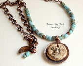 Blue Moon Necklace, Rustic Beaded Necklace with Ceramic Moon Face Pendant, Boho Layering Necklace with Copper Charms, Artisan Copper Jewelry