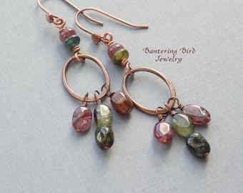 Tourmaline Chandelier Earrings, Red Green Gemstone Earrings, Watermelon Colors, Copper Hoops, Gypsy Dangle Earrings, Boho Jewelry
