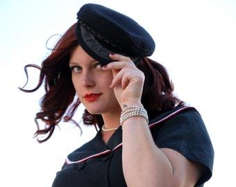 Greek fisherman's hat, black wool mens ladies sailor cap, nautical SALE