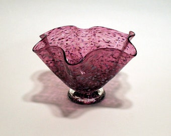 Organic-Hand Blown-Glass-Footed Bowl