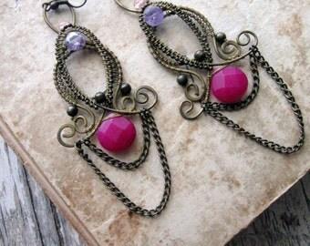 Moroccan Earrings - Wire Wrapped  Brass Earrings -   Eastern Filigree Earrings - Chandelier  Dangle magenta earrings