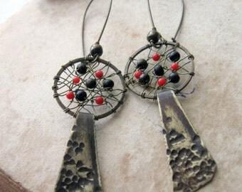 Long Dreamcatcher Earrings - spiderweb suncatcher earrings Wire Wrapped Dangle Bohemian Brass Earrings - Rustic Red Metalwork Earrings