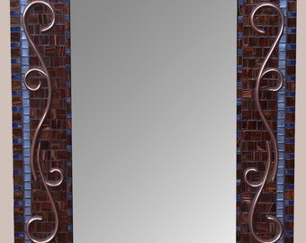 Decorative Bathroom Mirror with Copper Scroll with Chocolate Glass Tiles and Cobalt Blue Glass Trim