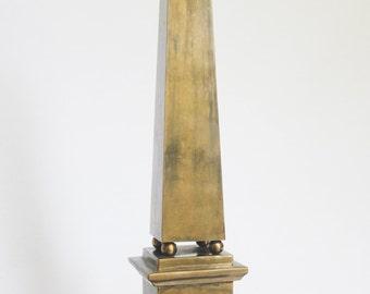 Large Vintage Brass Obelisk Statue