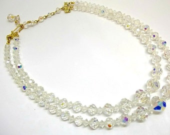 Austrian Crystal Double Strand Necklace Bridal Necklace Crystal Necklace Wedding Necklace DD 478