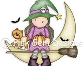Digi Stamp  'Halloween Chloe 2' Stamp. Makes Cute Halloween Cards/Invitations. Cute Witch Sitting On The Moon