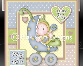 Baby Boy Buggy Downloadable Card Kit with Decoupage. New Baby Boy
