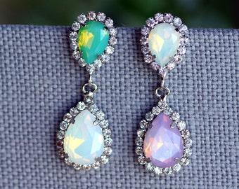 Vintage Bridal Earrings, White opal, mint opal, Pink Opal, Chandelier,Drop , Weddings jewelry, Estate Swarovski earring, kim kardashian