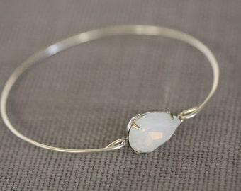 White Opal Vintage Stone Bangle, Silver Bangle, Silver Bracelet,