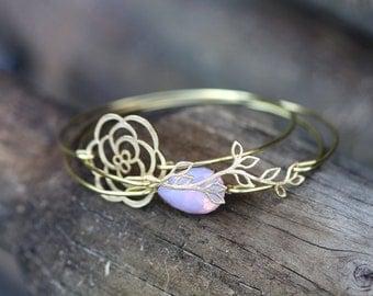 Bridal Cuff,Bracelets, Bridal Bangles, Bangle set, Gold, Blush Pink, Pink Opal, Romantic Rose, Flower Bracelet, Branch, Leaf,  Cuff Bracelet