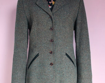 Sale ! KENZO 1980 80's 90's wool boucle equestrian riding coat jacket velvet collar pockets minimalist designer green tailored