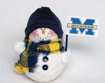 University of Michigan Snowman Ornament