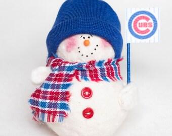 Chicago Cubs Snowman Ornament