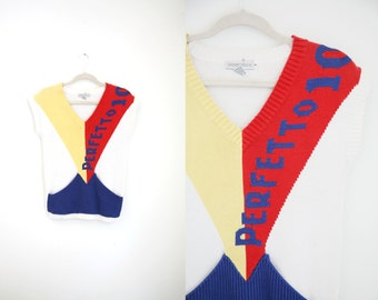 Vintage Slogan Novelty Knit Top Primary Colors