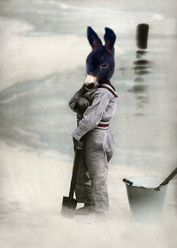 Jack of Spades - Vintage Animal 5x7 Print - Donkey - Altered Photo - Anthropomorphic - Whimsical Art - Photo Collage - Fantasy Art