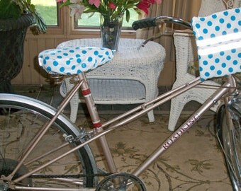 Blue Polka Dots Bike Handlebar Convertible Pouch - Clutch - Hipster Bag - Crossbody Bag