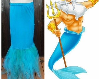 Upcycled Steampunk Clothing, King Triton Merman Skirt - Jersey/Lycra, Tulle, Chiffon - Blue, Turquoise and Green, Child Size 2, 4, or 6