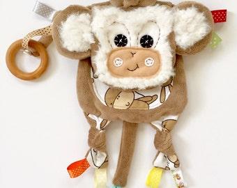 Baby mini monkey lovie organic ring clip toy friend