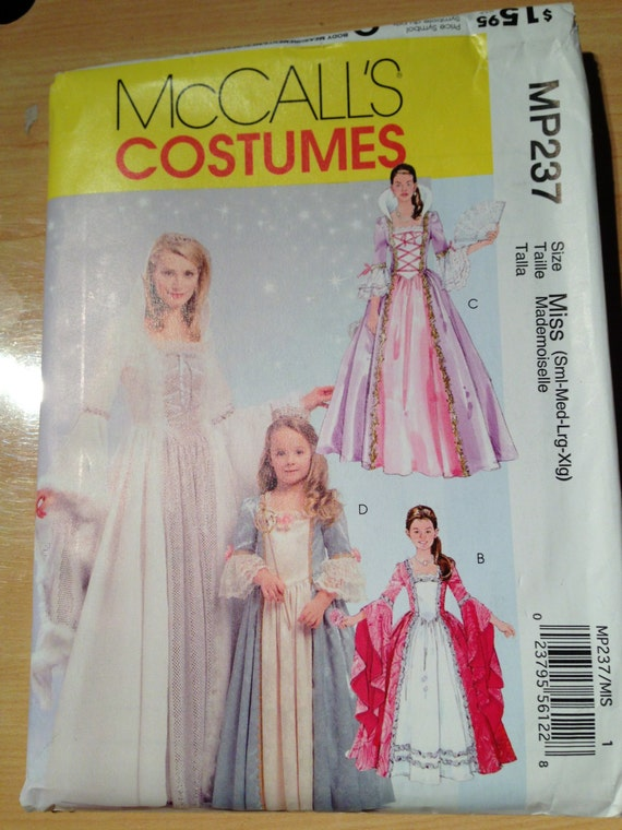 McCalls Sewing Pattern 237 Misses, Childrens and Girls Princess Costume S-XL Uncut