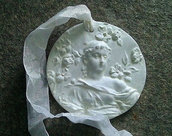 1 Handmade Clay Cameo/Door Hanger/Tag/Ornament/Female w/Flowers