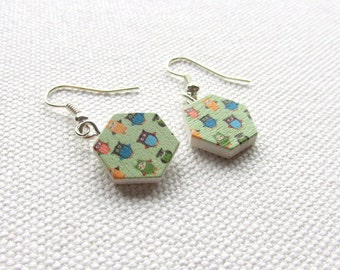 Cute Dangle Owl Earrings Wooden Hexagon Green Geometric Jewelry Bird Animal Jewelry