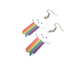Pooping Rainbow Cloud Earrings Kawaii I Poop Rainbows Funny Dangle Earrings Cute
