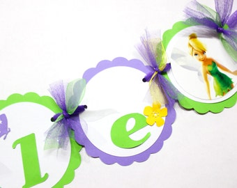 Tinkerbell Theme Birthday Party // Name Banner // Decorations // Banner // purple // green // lime green // Tinker Bell // Fairy