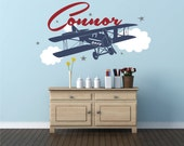 Airplane Name Decal , Personalized Airplane Clouds, Airplane Nursery Name Decal, Airplane Decor, Airplane Nursery, Plane Decal - WD0076