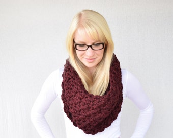 Crocheted Cowl, Chunky Cowl, Maroon Cowl, Winter Cowl, Fall Fashion || The Sara in Claret