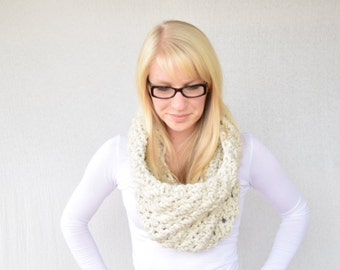 Crocheted Cowl, Chunky Cowl, Wheat Cowl, Winter Cowl, Fall Fashion || The Sara in Wheat