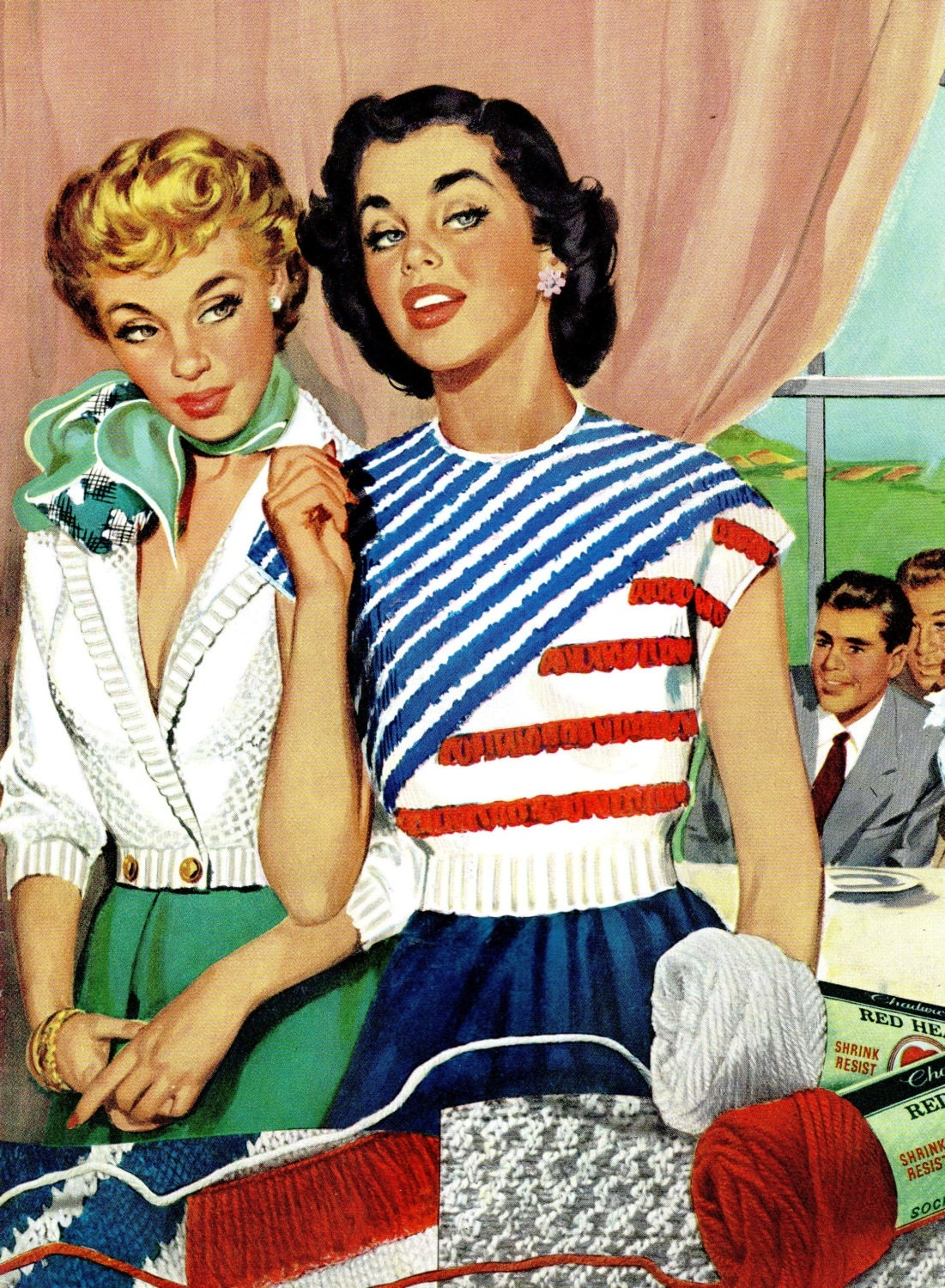 1950s Vintage Retro Fashion Sweaters Knitting Crochet Pattern Booklet Diy Instructions Pullover