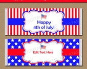 4th of July Party Favors - Fourth of July Candy Wrappers Printable Patriotic Party Favors Editable Text Military Favors Instant Download