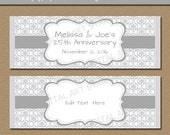 25th Anniversary Candy Wrappers - Silver Anniversary Party Candy Wrapper Template - Printable Editable Silver Damask Chocolate Bar Wrappers